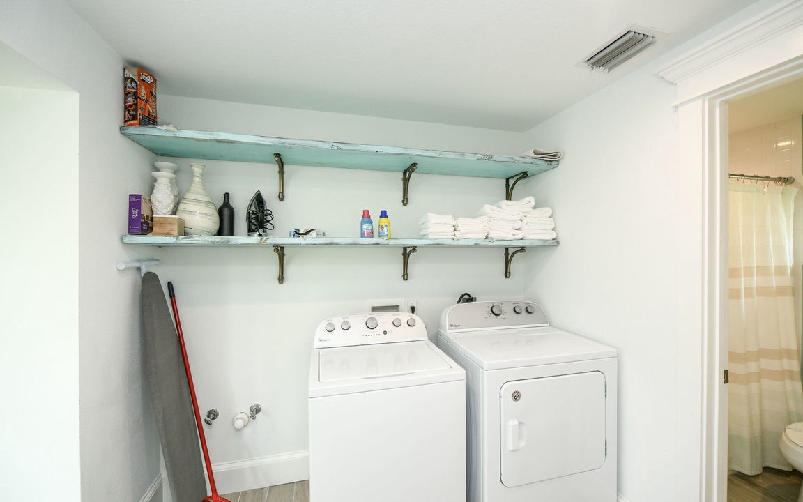 Laundry Room with Washer and Dryer, Beachfront Bungalow - AMI Locals