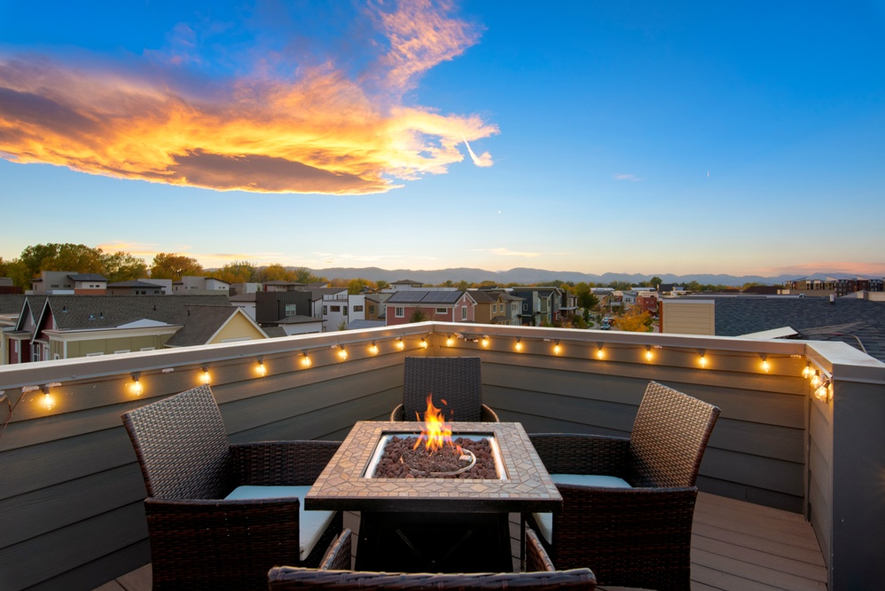 Wonderful views from the rooftop deck with propane fireplace