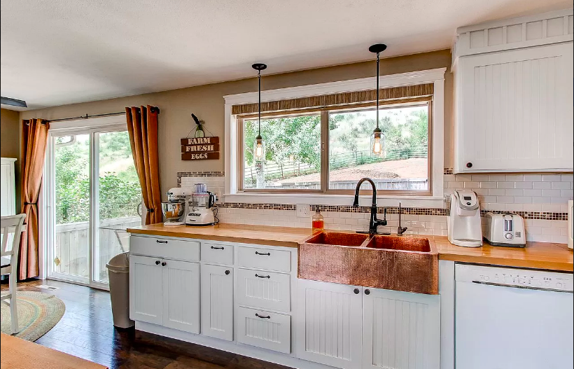 Farmhouse kitchen with Copper Sink
