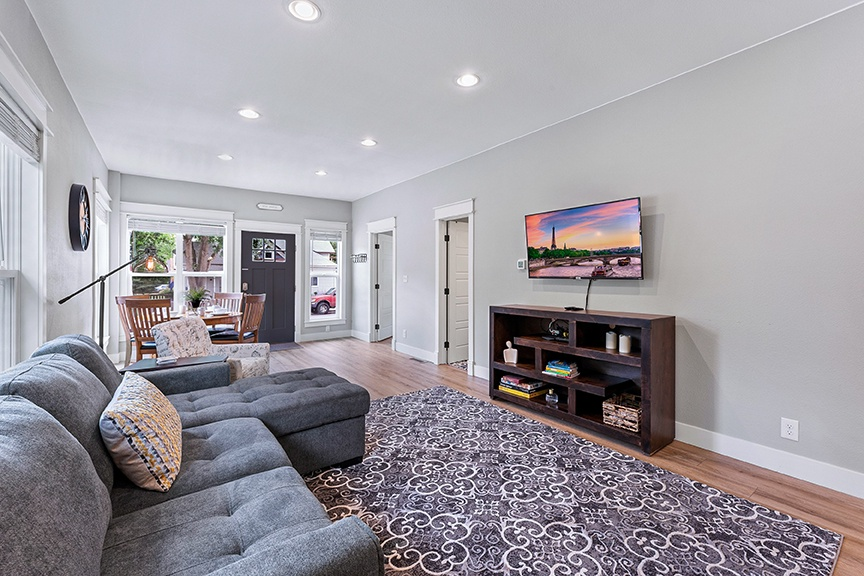 Living area with Smart TV and pull out couch