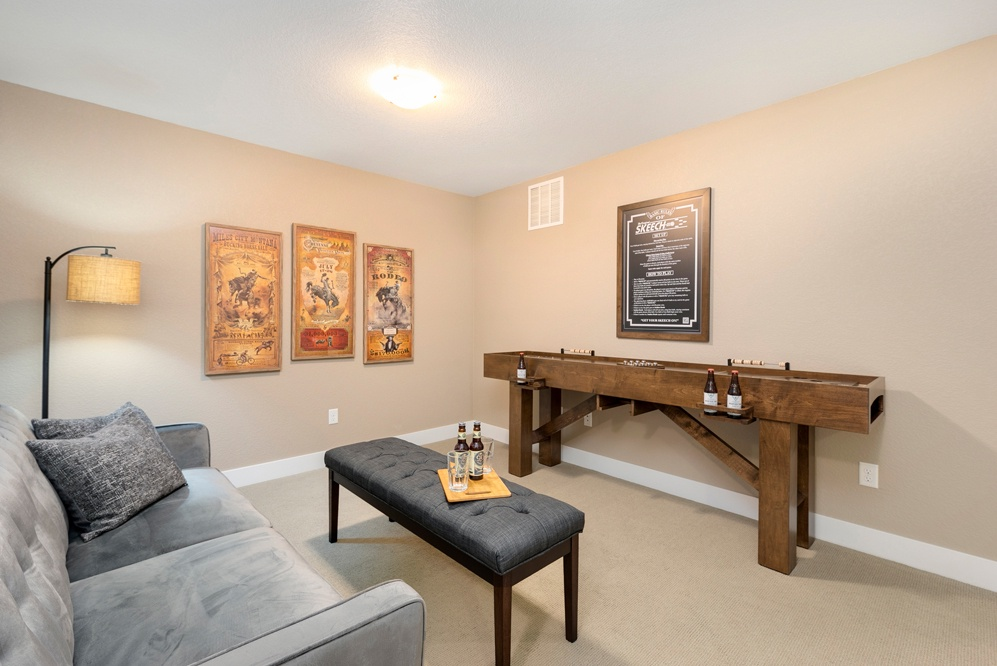den/family room with full size futon and the game SKEECH