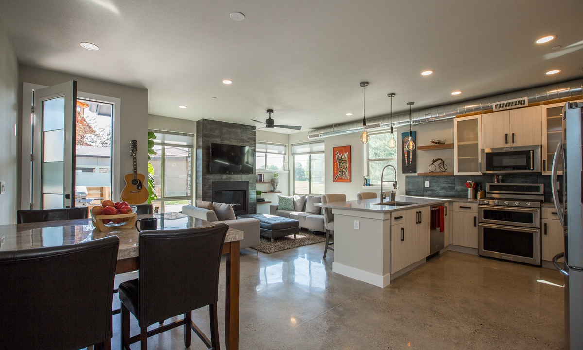 Kitchen - Dining Room - Living Room