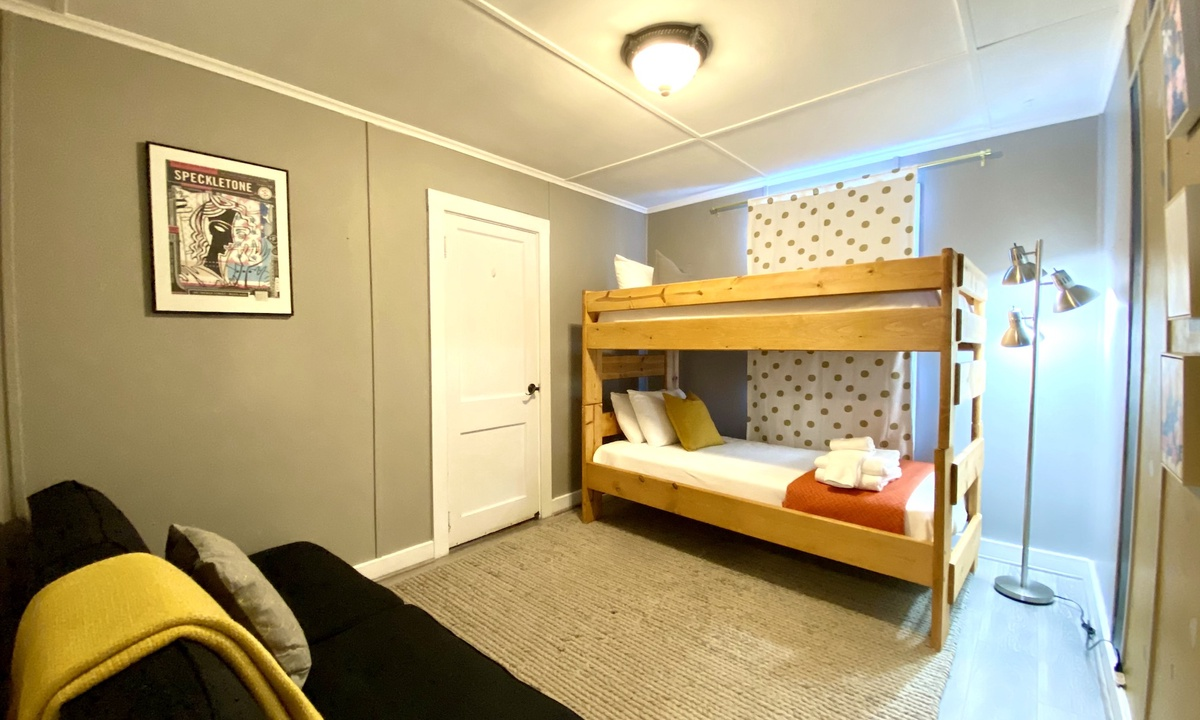 Bedroom 2: Twin bunk beds and a pull out futon for guest 5