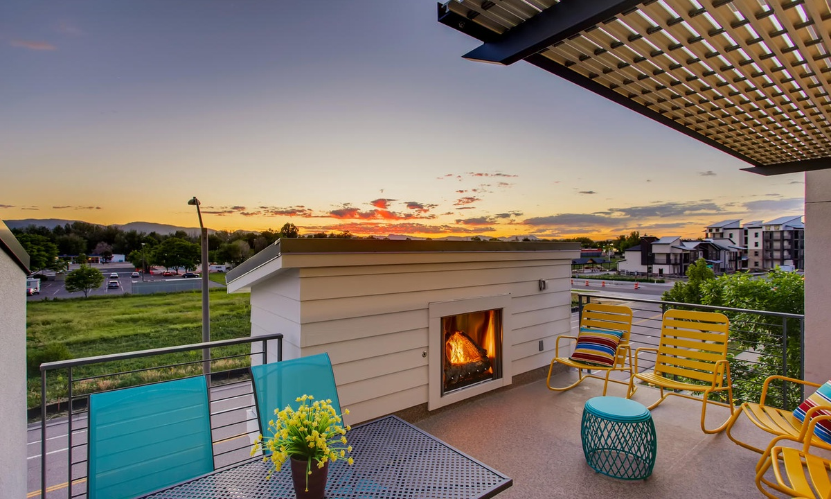Rooftop deck with fireplace and amazing views