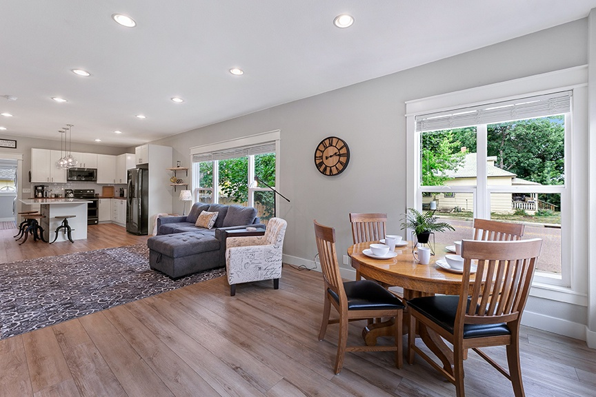 Open living area and dining room