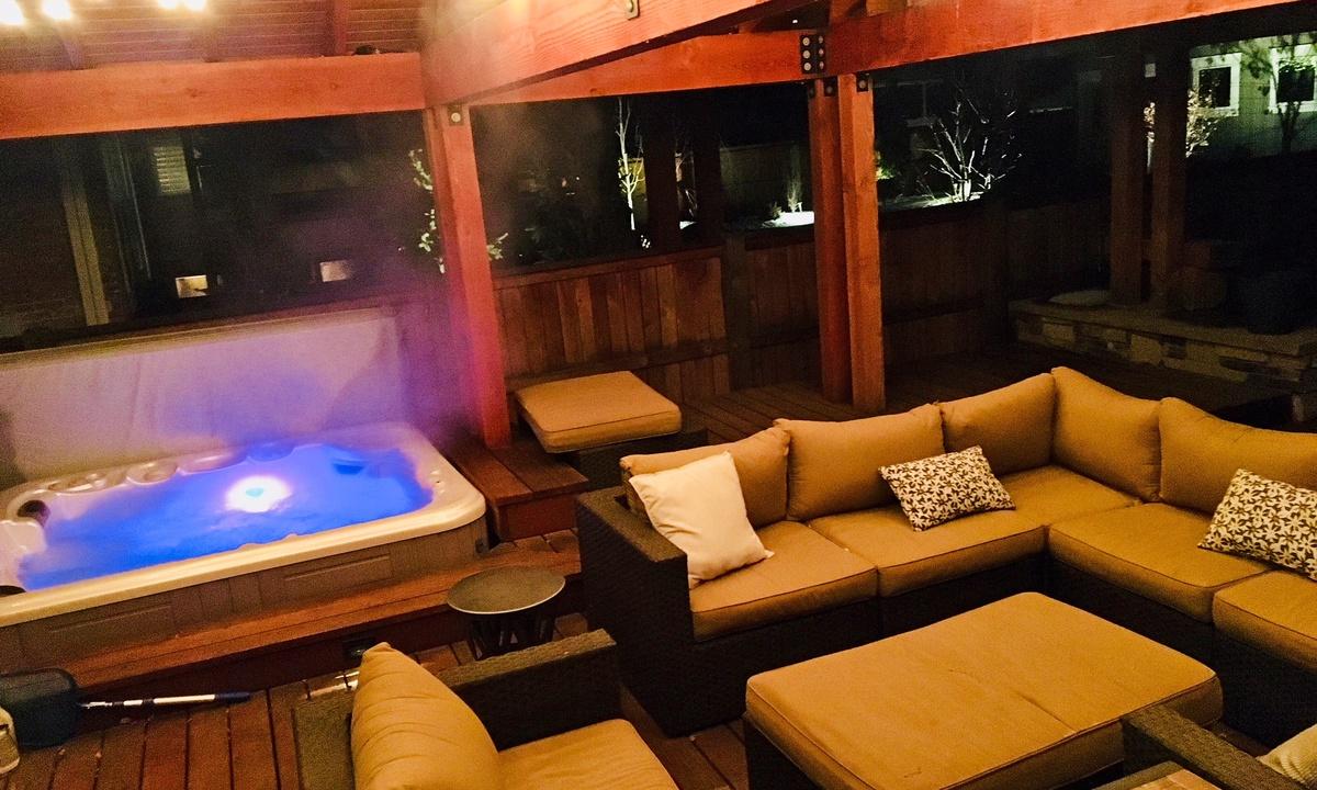 Night patio w hot tub