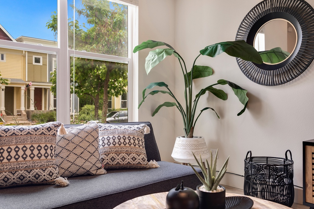 Lounge on the couch and enjoy the large and bright windows
