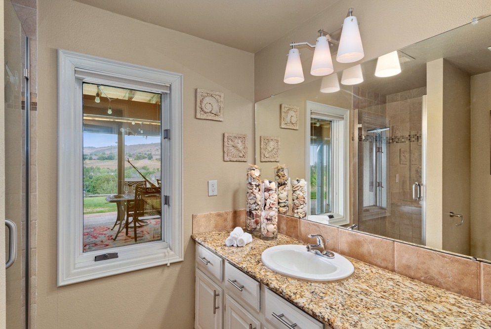 full bath with shower on lower level