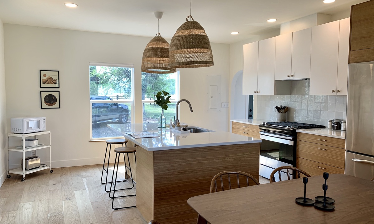 Kitchen with bar top seating