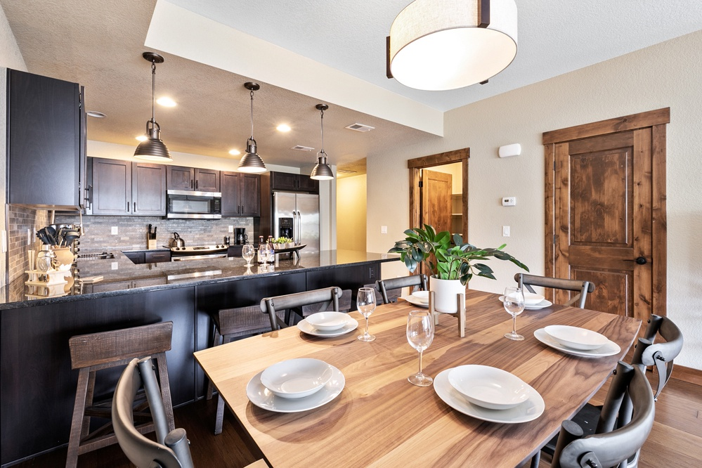 Dining room opens up to living room and kitchen