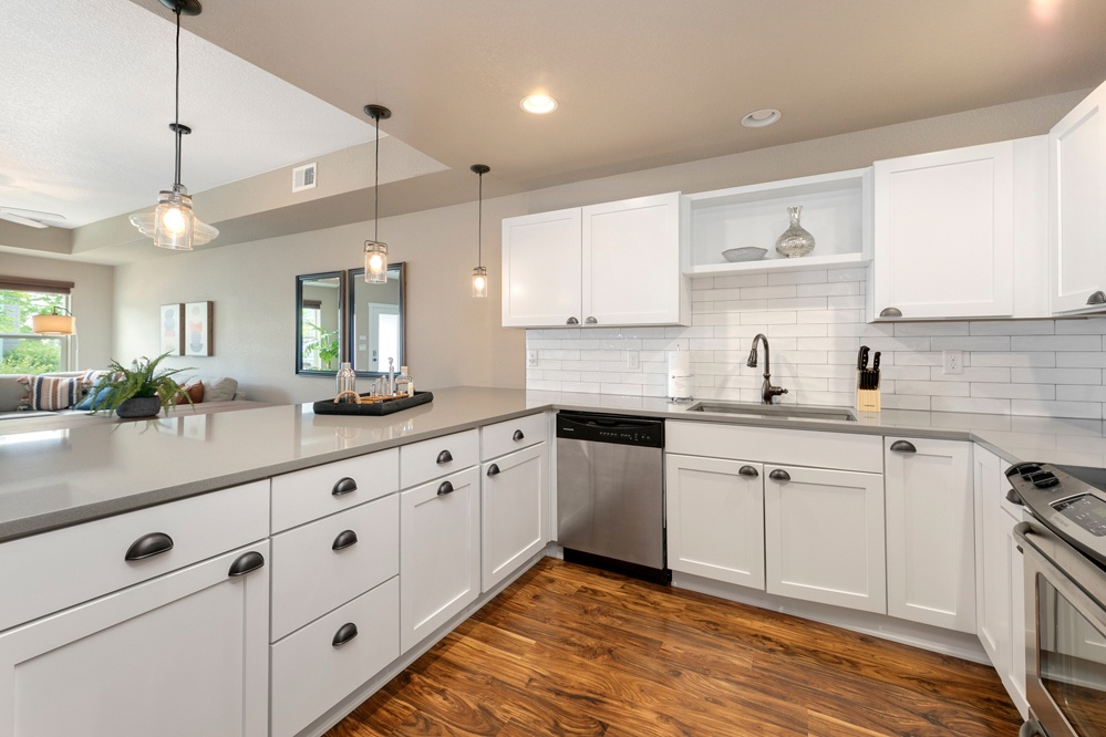 Bright kitchen with stainless steel appliances