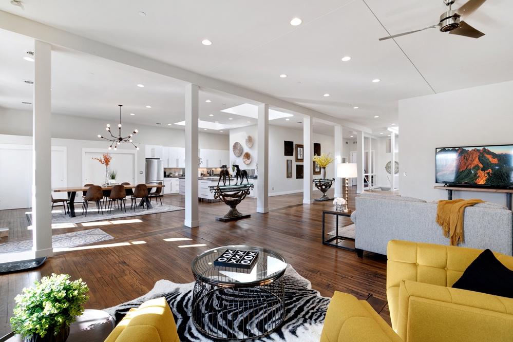large open floor plan in the Penthouse loft