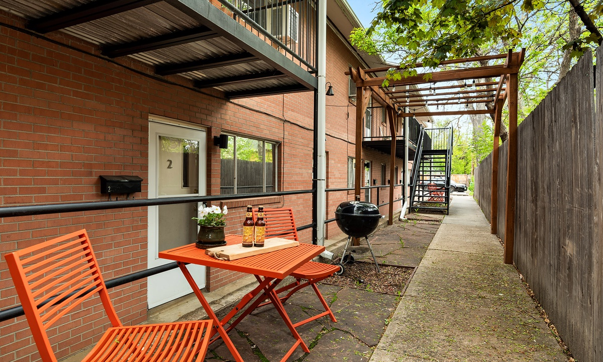 Shared outdoor seating areas and outside view of building
