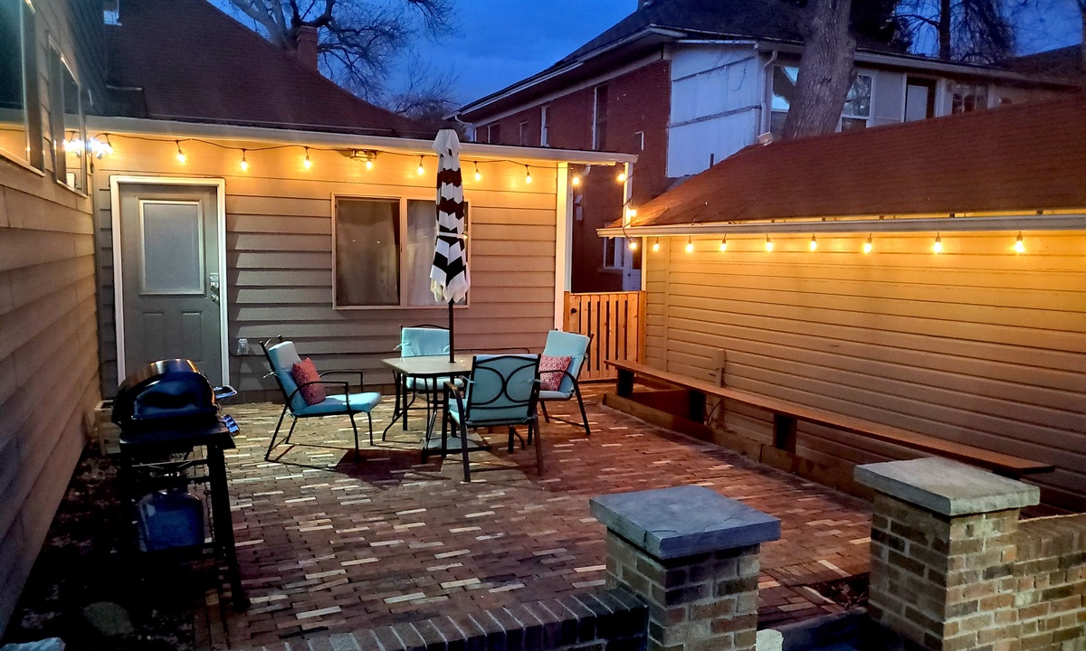 Back patio with outdoor string lights