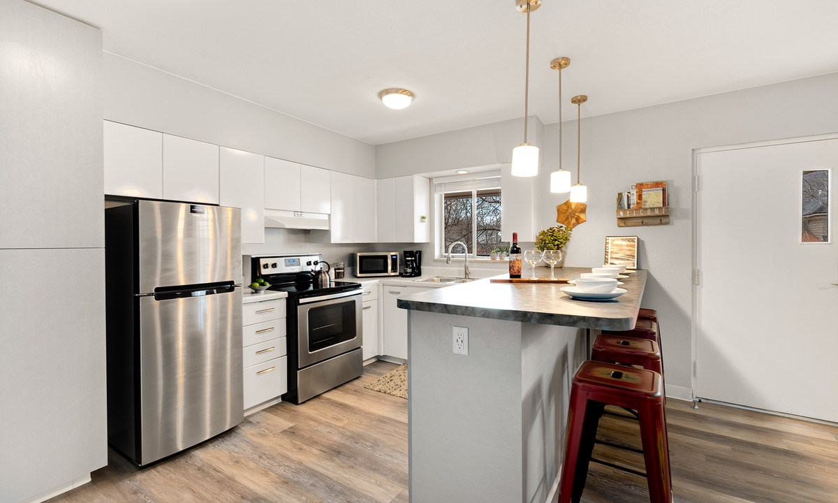 Remodeled Kitchen with Stainless Steel Appliances