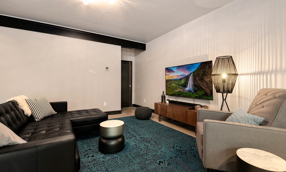 lower level family room with smart TV