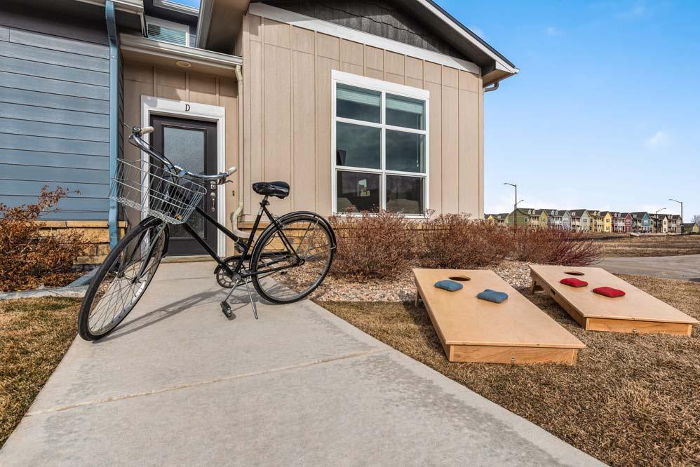 Cruiser bikes and cornhole provided