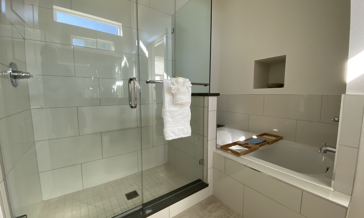 Master bathroom with walk-in shower and tub