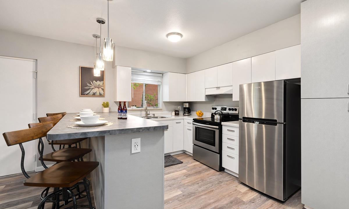Remodeled stainless steel kitchen