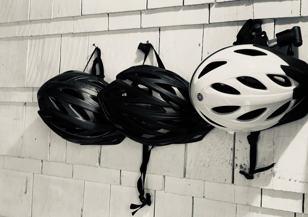 bikes and bike helmets for your use. Shared with other unit.